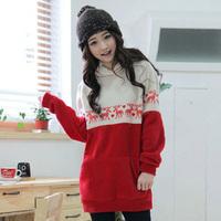 2014 autumn outerwear thickening women's clothing spring and autumn sweatshirts plus size velvet long design sweatshirt fleece