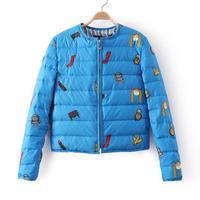 2014 winter cartoon print short coat female design down outerwear a