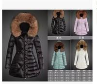 Top brand designer women's down parka with fur collar hoodied down coat winter coats slim long jackets XS-XXL