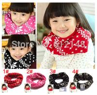 Retail Fashion Kids Girls Neck Warmer Cross Jacquard Child Muffler Scarf Baby Knitting Scarves 4colors