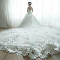 The new 2014 bridal lace wedding dress Princess Korean Bra big yards large tail