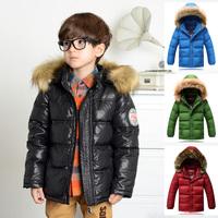 High End! European's Style 2014 Winter Luxury Large Fur Collar Children Baby Boys Kids Hooded Down Jacket Parkas Coat Outerwear