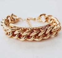 free shipping 2014 new bracelets trendy vintage fation sterling loom 18k gold-plated punk