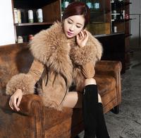 New Arrival Womens Double-faced Sheepskin Wool Fleece Fur Coat Short Genuine Leather Turn-down Collar Black Khaki Grey XXL XXXL