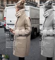 2014 winter women coat faux fur coat winter female jacket cotton-padded overcoat outerwear 6607