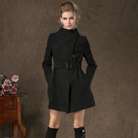 58110 winter stand collar large lapel belt exquisite line woolen medium-long overcoat outerwear