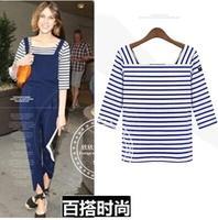 Fashion women's slit neckline navy style half sleeve top 100% all-match cotton stripe t-shirt