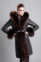 2015 Luxury Large Real Fur Collar Long Sleeve Slim Genuine Natural Sheepskin Leather Down Coat Jacket Hooded Bow Belt Black S M
