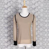 Free shipping Autumn new arrival 2014 solid color slim gauze patchwork velvet long-sleeve T-shirt Women basic shirt top