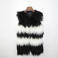 2014 handmade long wool patchwork vest black and white Stripe women coat faux fur coat winter jacket 8105