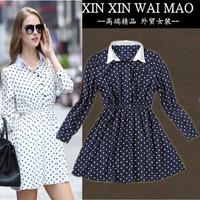 2014 autumn turn-down collar slim waist polka dot one-piece dress elegant all-match fashion long-sleeve dress female fashion