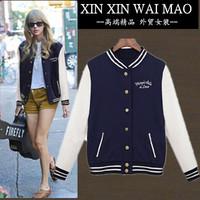 Long-sleeve outerwear plus size fashion all-match sweatshirt outerwear preppy style women's baseball uniform