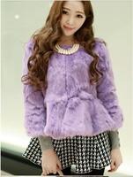 2014 winter ladies slim  rabbit  fur faux fur coats women design short outerwear 9608