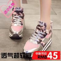 2014 agam sports platform elevator women's shoes casual shoes gauze platform shallow mouth shoes