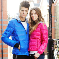 Tonlion 2014 thin down coat new arrival lovers down coat detachable cap thin down coat outerwear