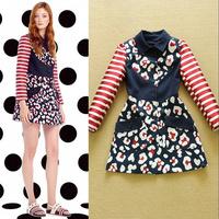 2014 Autumn Women's Fashion Stripe Color block shirt Collar slim trench medium-long Outerwear