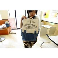 2014 Student School Bag Eiffel Tower Fashion Stripe Canvas Backpack School Bag 1B028