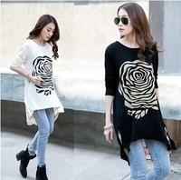 2014 autumn medium-long plus size chiffon 100% cotton basic shirt long-sleeve loose top t-shirt female