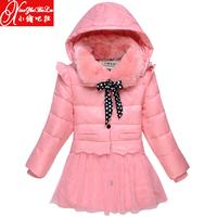 new 2014 winter han edition children baby girls kids medium-long hooded down jackets fashion thicken warm parkas coats outerwear
