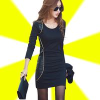 2014 plus size clothing medium-long long-sleeve dress slim elegant plus velvet basic