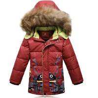 new 2014 winter lovely cartoon children boys kids large fur collar hooded down jackets fashion thick warm parkas coats outerwear