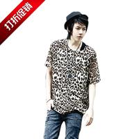 Male leopard print o-neck short-sleeve winny T-shirt non-mainstream fashion men's clothing summer