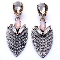 Latest Style Hot Sale Elegant Crystal Leaves Fashion Alloy Earrings For Women