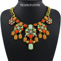 2014 Brand Acrylic Collar Necklaces & Pendants Fashion Women Jewelry Luxury Antique Statement necklace