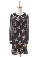 Free shipping 2014 autumn vintage print beading long gown slim hip skirt shirt
