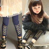 2014 autumn and winter british style girls clothing child long trousers legging kz-0630
