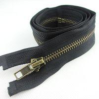 High quality 5# antique brass metal zipper open-end long down coat slider 70cm diy zipper ca136