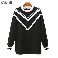 2014 nana dress nana medium-long black and white color block decoration pullover sweatshirt top