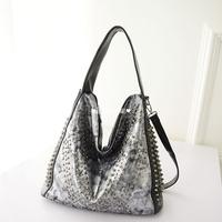 2014 personality casual rivet big bag motorcycle bag one shoulder cross-body portable women's handbag