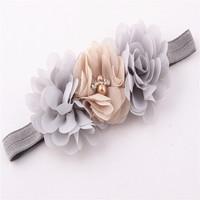 Fashion hot-selling baby chiffon pearl & rhinestone elastic hair band