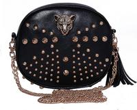 Free shipping rivets leopard head shoulder bag vintage handbag tassel women's cylinder chain coin purse bag