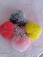 Luxury rex rabbit hair bags pendant of love heart plush car keychain fur hangings heart keychain