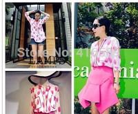 Vibrant colors series type rose petals bordered print lady elegant shirt wardrobe blouse