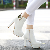 Sexy martin boots round toe thick heel boots ankle high heels platform boots fashion single boots free shipping