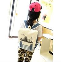 2014 Student School Bag  Fashion Stripe Canvas Backpack School Bag 1B027