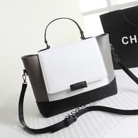 2014 autumn and winter women's handbag color block bucket bag female cross-body shoulder bag white and black color messenger bag