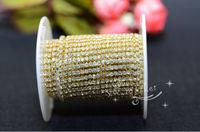 Free shipment Fashion handicrafts 2.4mm Crystal rhinestone chain gold base for sewing