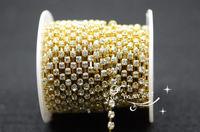 Free shipment handicrafts 3.3mm Crystal rhinestones chain goldenbase for sewing
