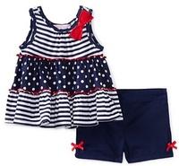 October Children's clothing wholesale 210265 Summer girls striped Vest top + Shorts 2 piece sets 5set/lot