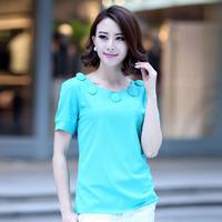 Chiffon shirt female 2014 summer short-sleeve plus size clothing slim chiffon elegant medium-long