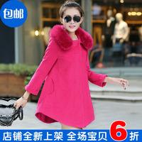 2014 female wool coat autumn and winter plus size L-XXXL  loose cloak fur collar woolen outerwear thickening big