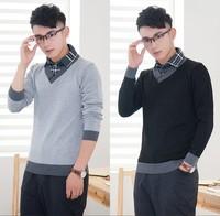 2014 Casual Men Slim Faux Two Piece Long-sleeve Sweater Men's Shirt Collar Sweaters