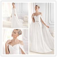 Marvelous Sheath Floor length Chapel train Sweetheart Neckline Spaghetti straps Chiffon with Beading Wedding Dresses