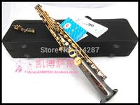 free shipping chinese brand soprano saxophone straight pipe b black split soprano saxophone aerophone