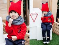 Wholesale -Winter children clothing boys girls tops + pants 2 pieces Children's leisure suit 5p/l