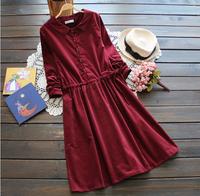 elegant turn-down collar  corduroy long-sleeve pullover peter pan collar corduroy  drawstring one-piece dress